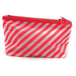 4/$25 NEW ban.do Make-Up Pink Stripe Bag 10x5.5x4""